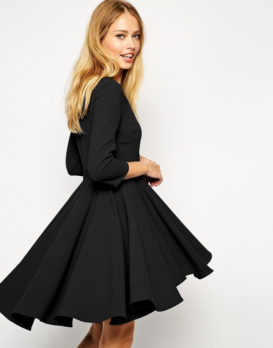 asos robe patineuse avec manches 3 4 et jupe asos pickture. Black Bedroom Furniture Sets. Home Design Ideas