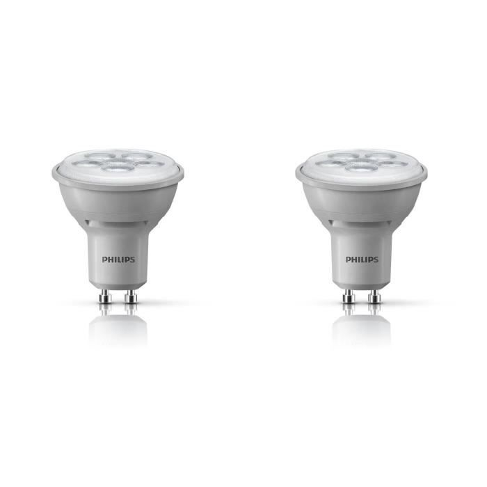 philips lot 2 ampoules spot led gu10 50w dimmables philips pickture. Black Bedroom Furniture Sets. Home Design Ideas