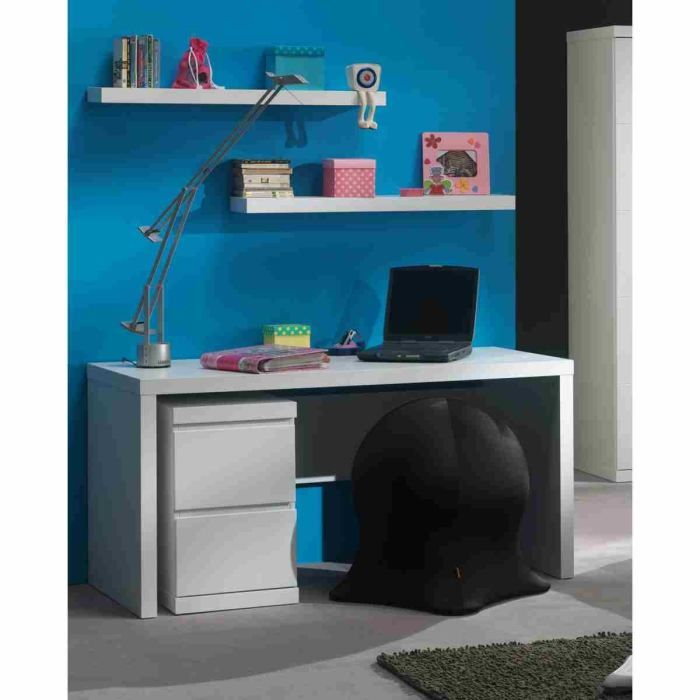 lara caisson bureau 40 cm laqu blanc vipack pickture. Black Bedroom Furniture Sets. Home Design Ideas