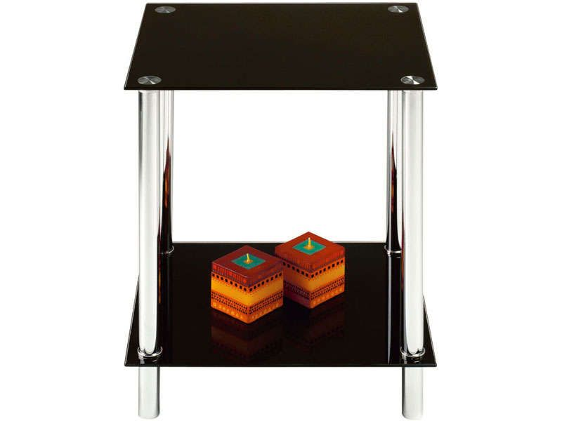 Bout de canap happy coloris noir conforama pickture for Table bout de canape en verre
