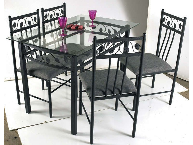 table rectangulaire en verre et m tal 4 conforama. Black Bedroom Furniture Sets. Home Design Ideas