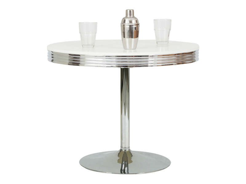 Table ronde dean coloris chrome conforama pickture for Table de cuisine pliante conforama