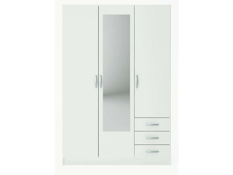 armoire 3 portes 3 tiroirs spot coloris blanc conforama pickture. Black Bedroom Furniture Sets. Home Design Ideas