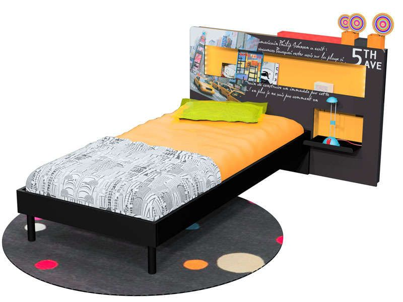 t te de lit 147 cm manhattan coloris noir orange. Black Bedroom Furniture Sets. Home Design Ideas