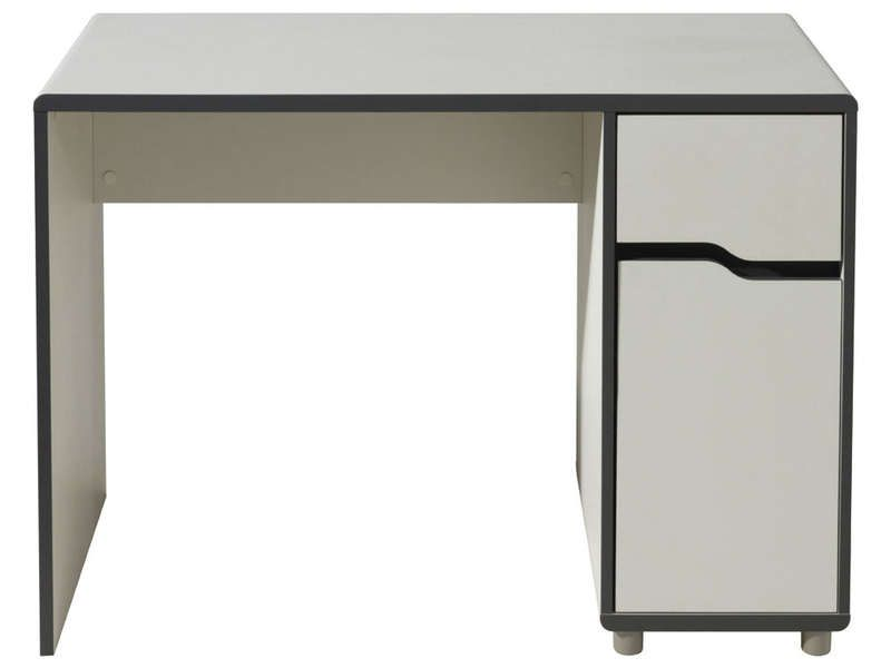 bureau 1 porte 1 tiroir moby coloris blanc gris conforama pickture. Black Bedroom Furniture Sets. Home Design Ideas