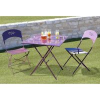 Table 2 chaises bistrot coloris lilas pickture - Table bistrot marbre conforama ...