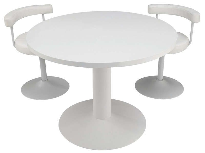 Table ronde fjord coloris blanc conforama pickture for Table de jardin conforama