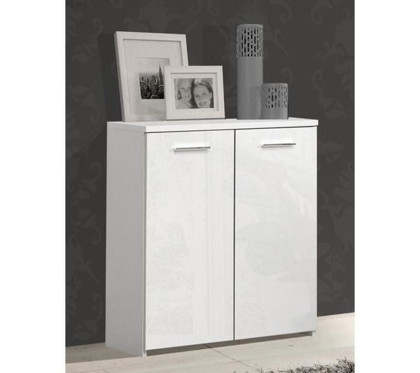 crown buffet bas blanc brillant 2 portes noname pickture. Black Bedroom Furniture Sets. Home Design Ideas