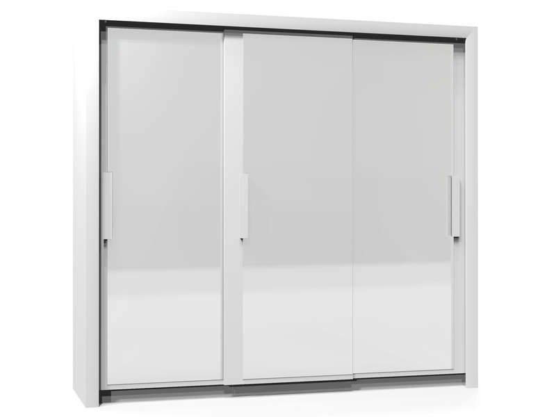 Armoire 3 portes l229 cm perfect coloris blanc conforama for Armoire 4 portes coulissantes conforama