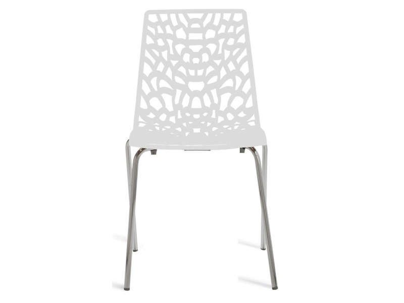 Chaise groove 2 coloris blanc conforama pickture for Conforama chaises de cuisine