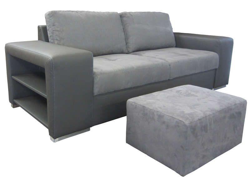 Canap fixe 3 places pouf sempre coloris gris for Canape conforama sempre