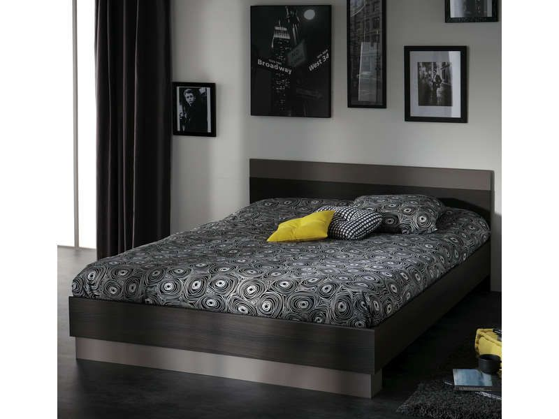lit 160 cm graphic coloris ch ne vulcano conforama pickture. Black Bedroom Furniture Sets. Home Design Ideas