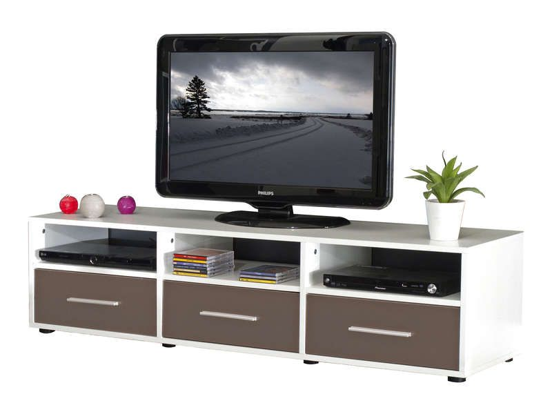 Meuble tv 3 tiroirs citizen coloris blanc taupe for Meuble tiroir conforama