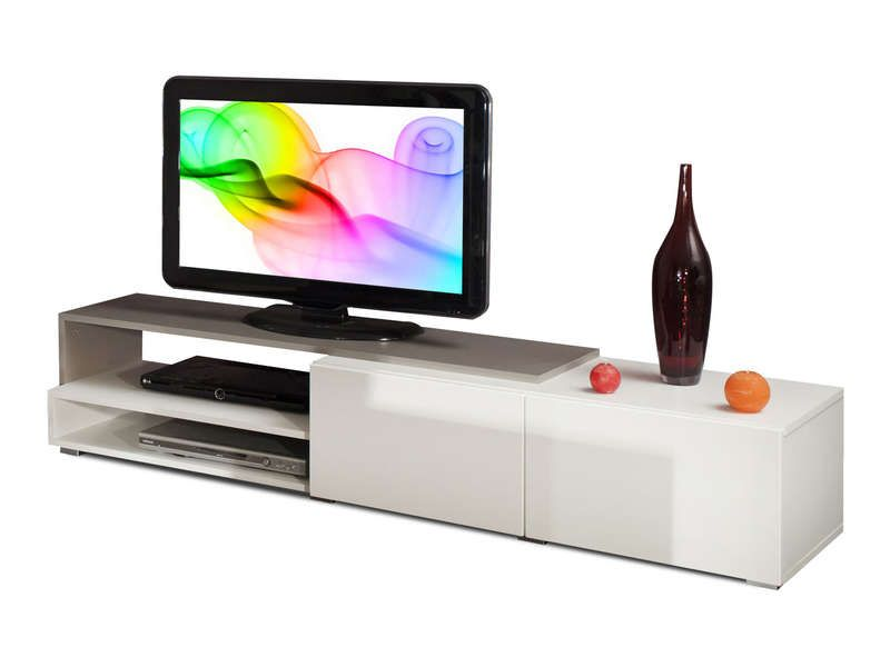 Meuble TV RUBIS coloris blanc/ taupe - Conforama - Pickture