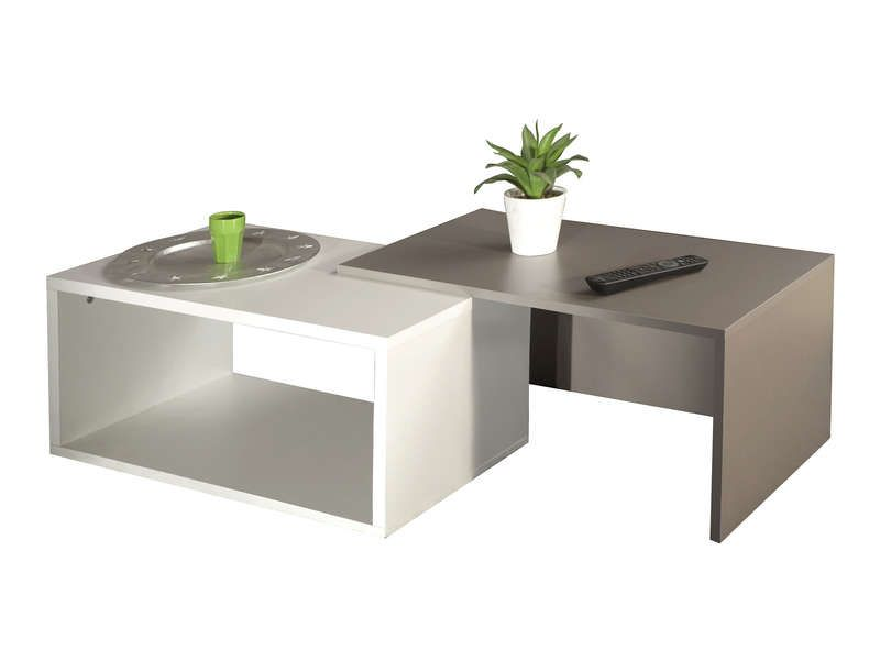 Table basse gigogne rubis coloris blanc taupe for Table basse blanc conforama