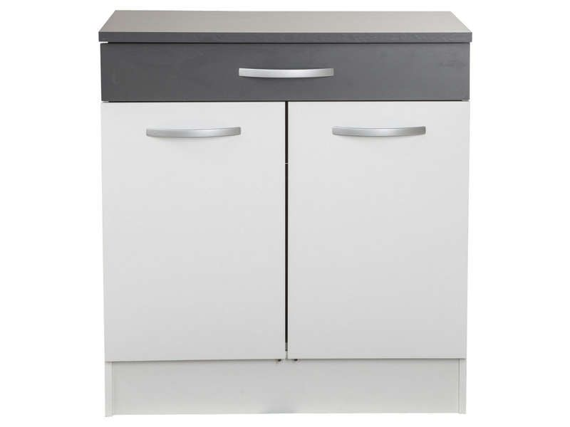 Meuble bas 80 cm 2 portes 1 tiroir woody gris for Meuble 2 porte conforama
