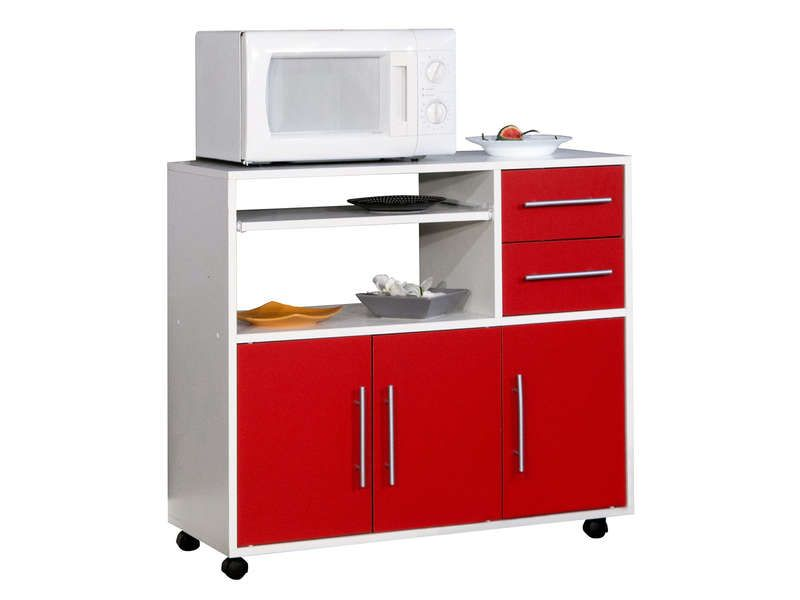 Desserte micro ondes pretty coloris blanc rouge for Meuble 2 porte conforama