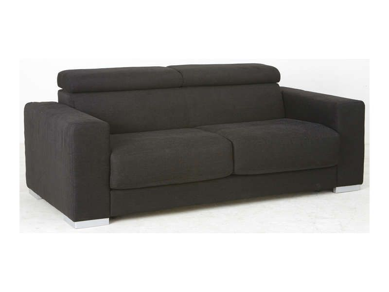 Canap convertible 3 places tim coloris noir conforama for Canape couchage permanent
