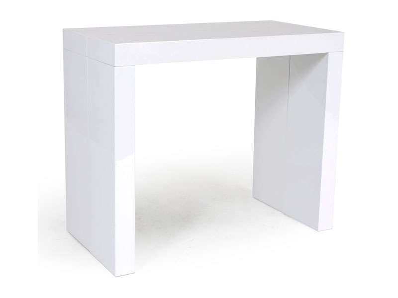 Console extensible olga coloris blanc brillant conforama - Table console extensible blanc laque design ...