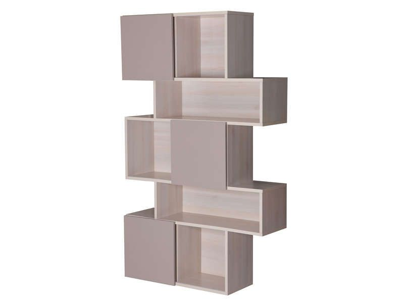 S paration blush coloris acacia et taupe conforama for Bibliotheque meuble conforama