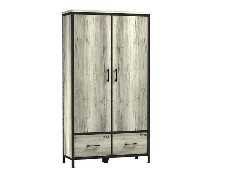 armoire 2 portes 2 tiroirs loft coloris ch ne. Black Bedroom Furniture Sets. Home Design Ideas