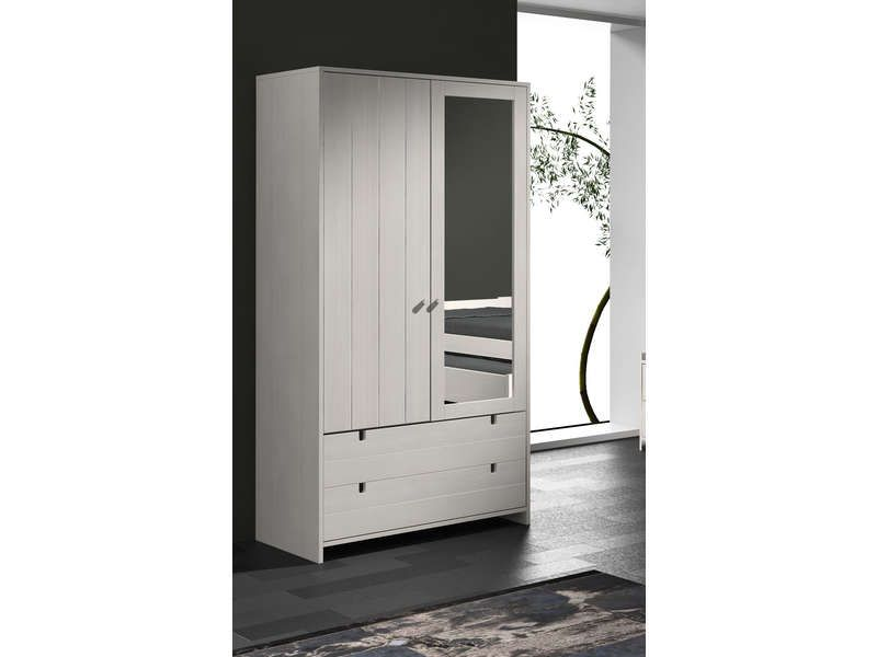 armoire 2 portes 2 tiroirs cecile conforama pickture. Black Bedroom Furniture Sets. Home Design Ideas