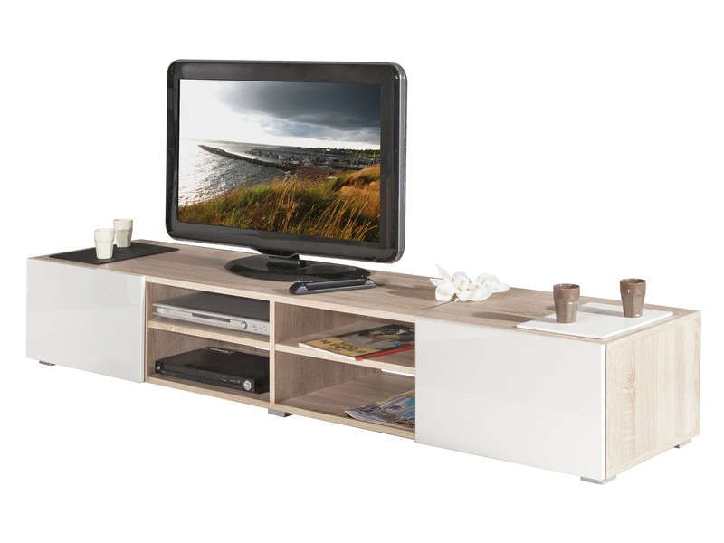 Meuble tv 4 niches 2 tiroirs elios coloris conforama for Meuble tv 2 tiroirs