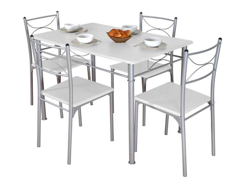 Ensemble table rectangulaire 4 chaises tuti conforama for Table de cuisine rectangulaire