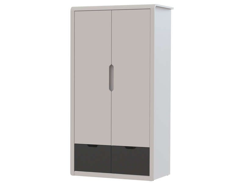 armoire 2 portes 2 tiroirs trix coloris gris et. Black Bedroom Furniture Sets. Home Design Ideas