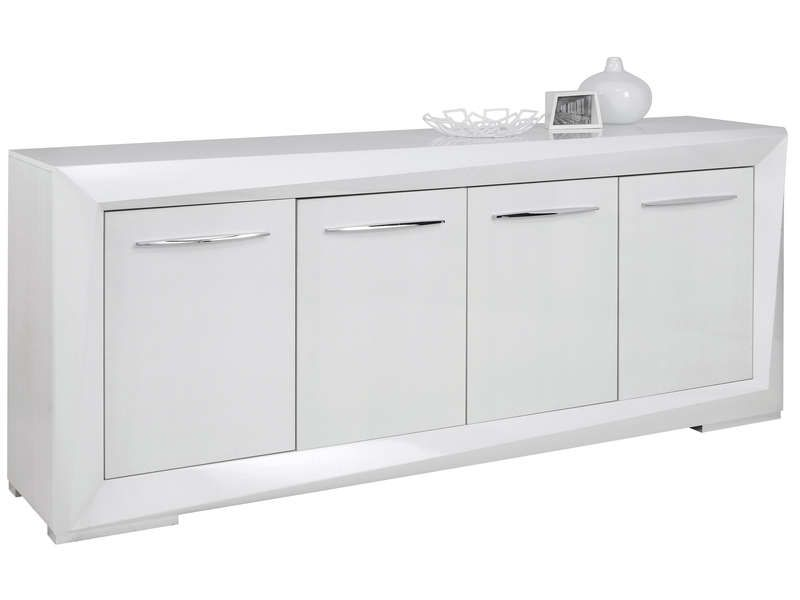 Buffet 4 portes brook coloris blanc conforama pickture for Vitrine blanc laque conforama