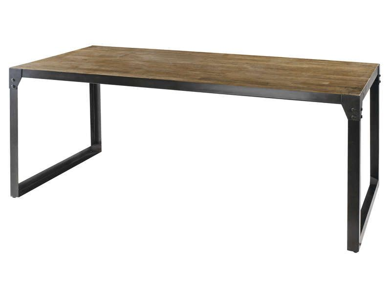 Table rectangulaire 180 cm worker en acacia conforama - Table de salle a manger rectangulaire ...