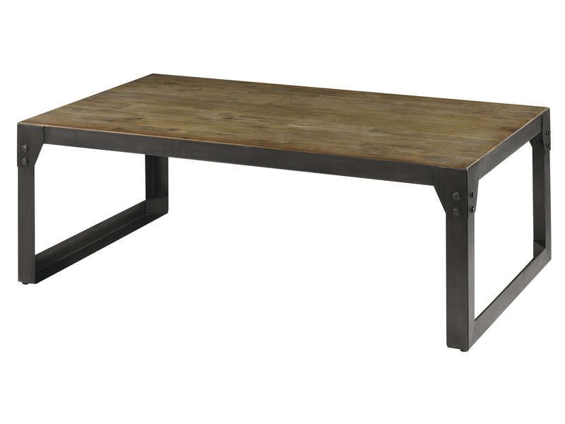 Table basse 120 cm worker en acacia massif et conforama for Conforama tables basses