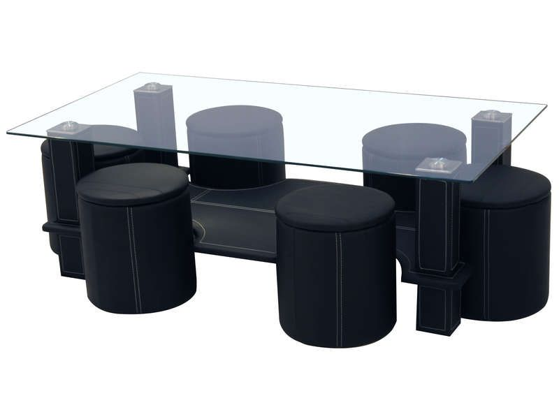 Table basse 6 poufs sixty coloris noir conforama pickture - Table salon avec pouf ...
