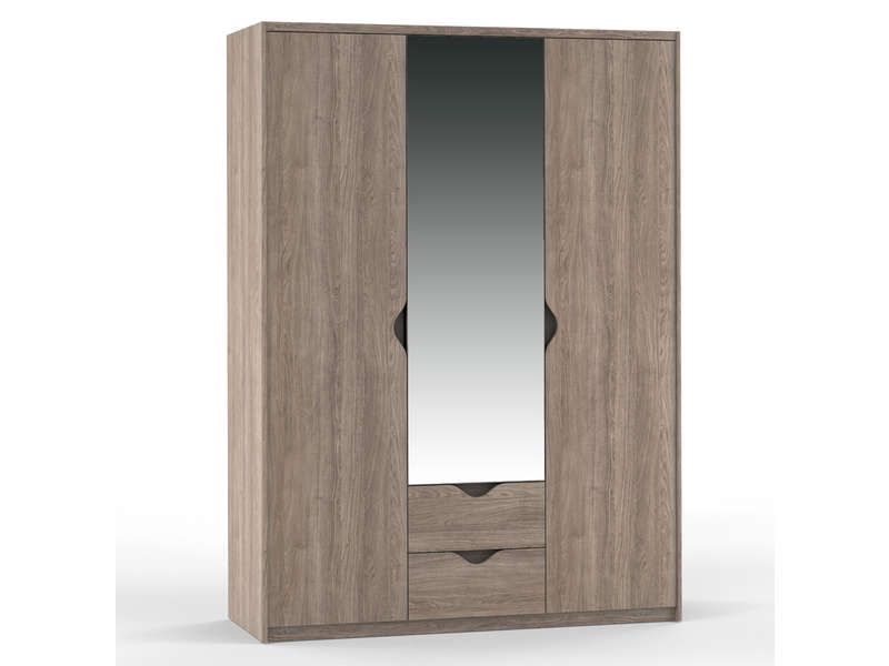 armoire 3 portes 2 tiroirs vision coloris ch ne. Black Bedroom Furniture Sets. Home Design Ideas