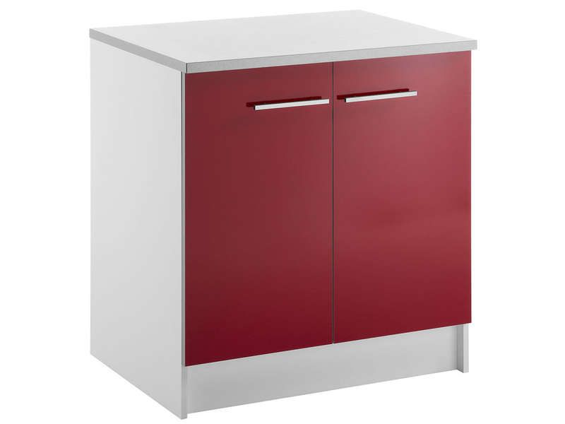 Meuble bas 80 cm 2 portes spoon shiny rouge conforama for Meuble 2 porte conforama