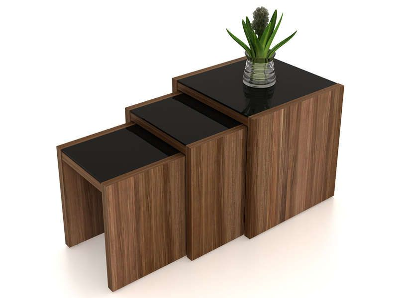 Table basse gigogne x3 gigogne coloris noyer conforama for Tables gigognes en bois