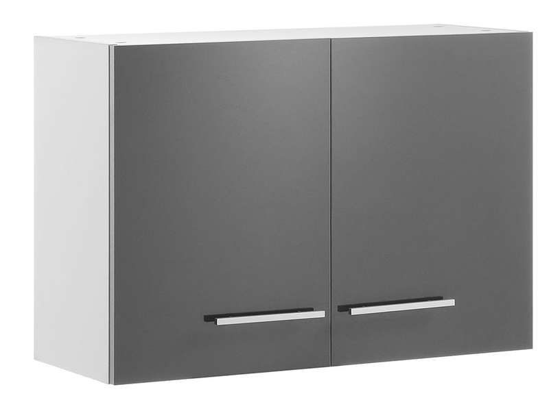 Meuble haut 80 cm 2 portes spoon shiny anthracite for Meuble 2 porte conforama