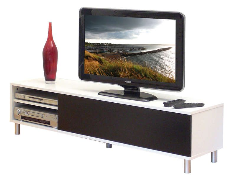 Meuble tv dany coloris blanc noir conforama pickture for Meuble tv conforama occasion