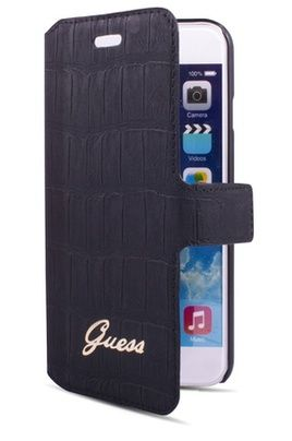 Housse pour iphone guess etui folio croco noir guess for Housse iphone 6 guess