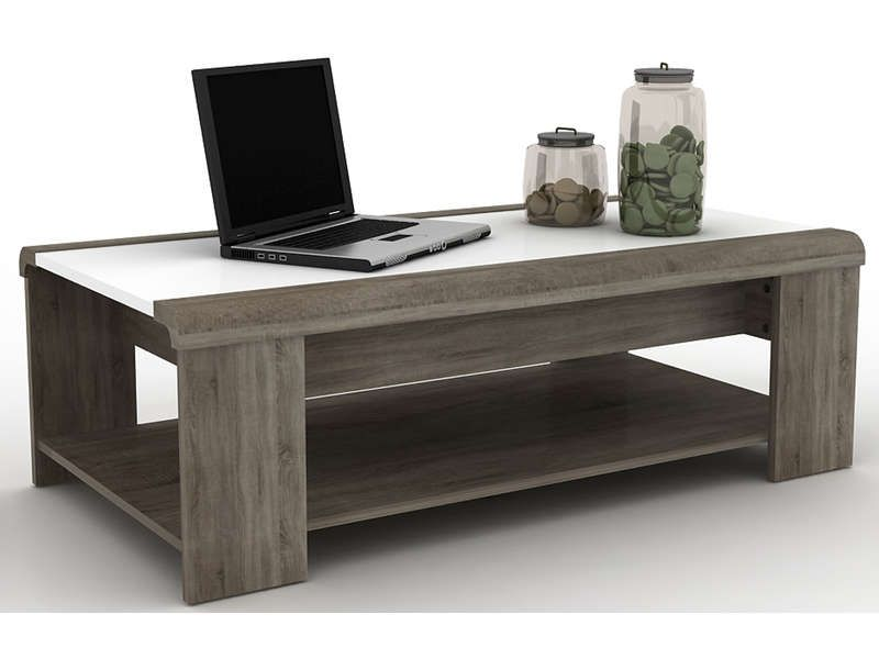 Table basse relevable lift coloris blanc sonoma conforama pickture - Table basse plateau relevable conforama ...