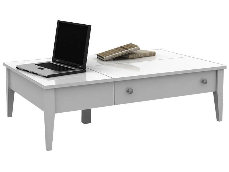 Table basse flip coloris blanc conforama pickture for Table basse modulable conforama