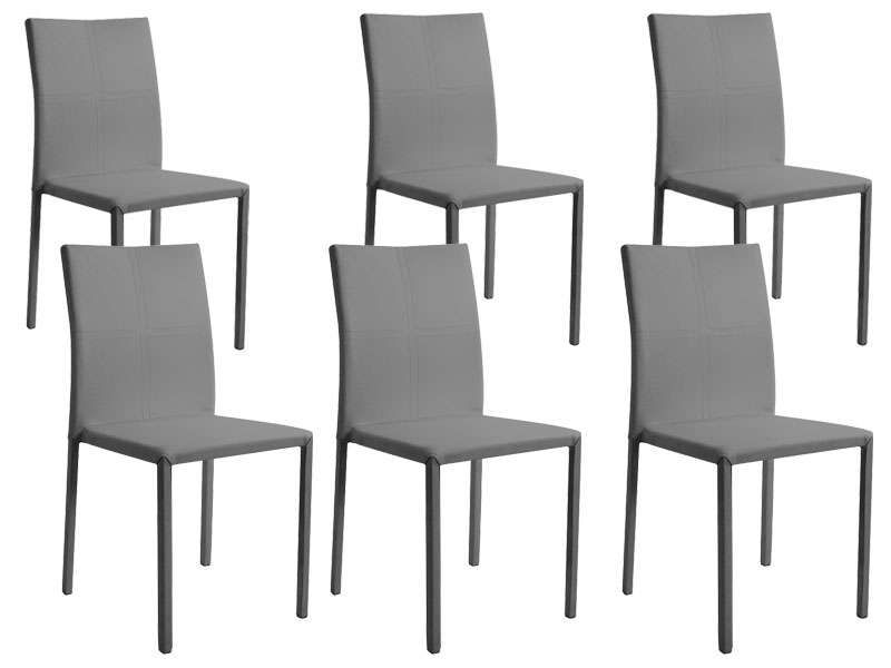 Lot de 6 chaises atia coloris gris conforama pickture for Lot de 6 chaises grises