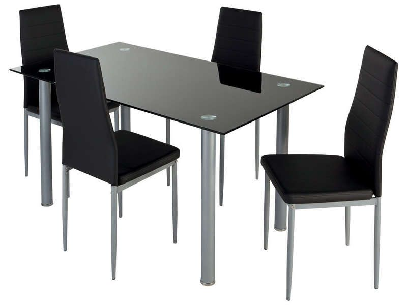 Ensemble table et 4 chaises featuring coloris noir for Table 4 chaises conforama