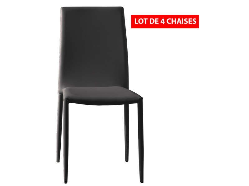 Lot de 4 chaises diva coloris noir conforama pickture for Chaises noires conforama