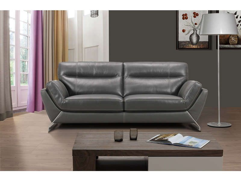 canap fixe en cuir 3 places jack coloris gris conforama pickture. Black Bedroom Furniture Sets. Home Design Ideas