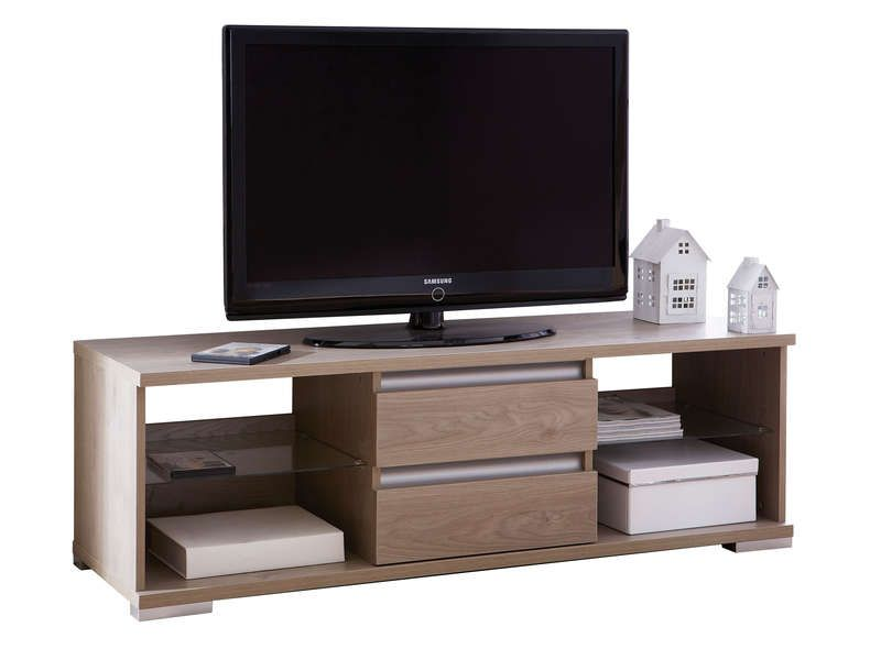Meuble tv 4 niches 2 tiroirs malo coloris conforama for Conforama meuble tiroir
