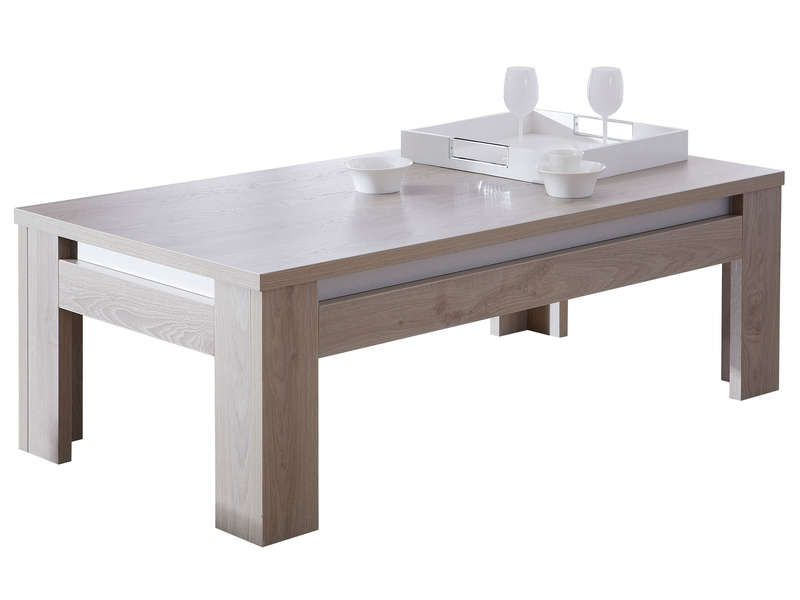 Table basse rectangulaire malo coloris ch ne conforama for Table blanche conforama
