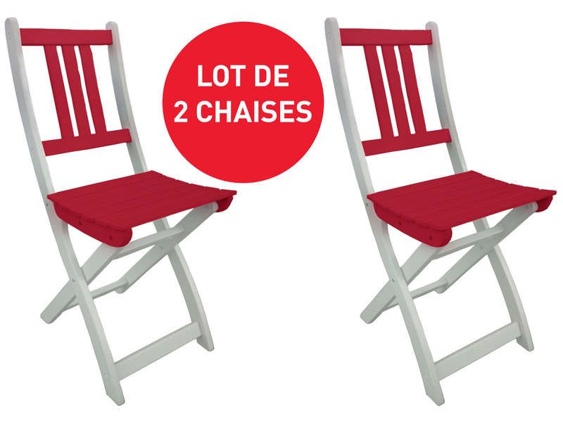 lot de 2 chaises pliantes de jardin trinidad conforama. Black Bedroom Furniture Sets. Home Design Ideas
