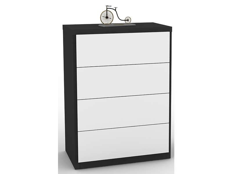 commode 4 tiroirs lano coloris blanc et noir conforama pickture. Black Bedroom Furniture Sets. Home Design Ideas