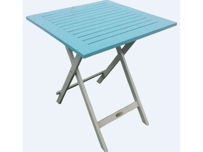 Table de jardin 65 cm pliante trinidad coloris conforama for Table jardin bleu